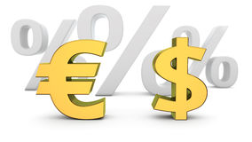 Euro to dollar exchange rate Royalty Free Stock Image