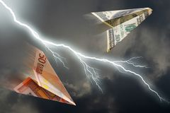 Euro and dollar plane. Business concept. euro and dollar plane and  thunderstorm Stock Image