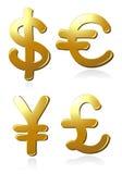 Euro, dollar, pond en Yen Stock Afbeeldingen