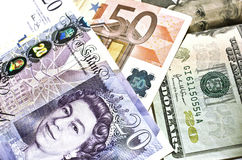 Euro, dollar, pound. Euro, dollar and pound bills stock photography