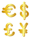 Euro, dollar, pound and yen Royalty Free Stock Photo