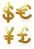Euro, dollar, pound and yen Stock Images