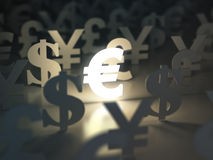 Euro, dollar , pound and yen signs. Currency exchange concept. Royalty Free Stock Images
