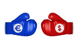 Euro and dollar ready to fight Stock Photos