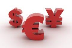Euro dollar rouge et Yens d'isolement Photographie stock