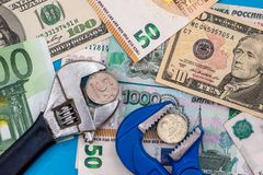 Euro and dollar ruble. Euro and dollar vs ruble stock photos