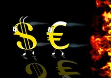 Euro and Dollar running. Royalty Free Stock Image