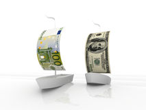 Euro and dollar sailing boats. Two boats racing on rough sea with one hundred dollar and Euro banknotes as sails, isolated on white background royalty free illustration