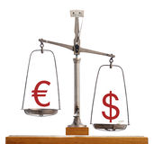 Euro Dollar scale - Dollar strength. With the currency symbols balanced on a vintage scale with the Dollar weighted down valued higher on forex and capital royalty free stock photos