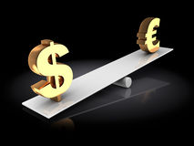 Euro and dollar seesaw Royalty Free Stock Images
