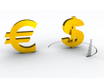 Euro and dollar signs. dollar crysis. 3d Royalty Free Stock Photo