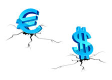 Euro and dollar signs down Stock Photography