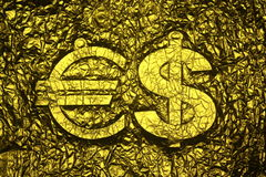 Euro and Dollar signs. Gold printing background Stock Photos