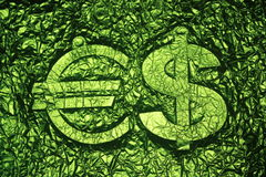 Euro and Dollar signs green printing background Stock Photos