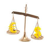 Euro and Dollar signs on scales Royalty Free Stock Photo