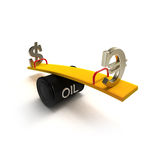 Euro and dollar signs on a seesaw of oil barrel Stock Photo