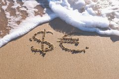 Euro and Dollar signs written in the sea sand. Waves washed away the inscription. Euro and Dollar signs written in the sea sand. Waves washed away the stock photography
