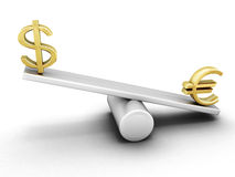 Euro and dollar on a swing. On white background. 3d render image Royalty Free Stock Image