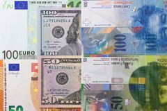 100 and 50 euro dollar, swiss franc background. 100 and 50 euro dollar, swiss franc background Royalty Free Stock Images