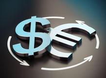 Euro and Dollar Symbol. EUR USD Pair Stock Photography