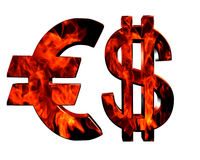 Euro and dollar symbol on a white background. The concept of a crisis Royalty Free Stock Images