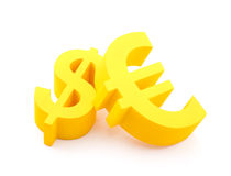 Euro with dollar symbols. Yellow euro with dollar currency symbols Royalty Free Stock Images