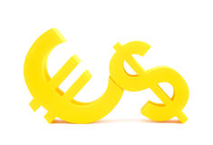 Euro with dollar symbols. Yellow euro with dollar currency symbols Stock Image