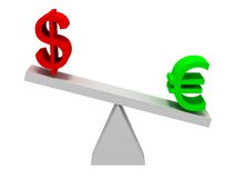 Euro and Dollar Symbols Balancing. Over white background Royalty Free Stock Photography