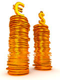 Euro and Dollar symbols over coins stacks Stock Photography