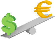 Euro and dollar symbols on seesaw illustration Royalty Free Stock Photos
