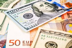 Euro dollar texture. Euro dollar as a texture royalty free stock photography