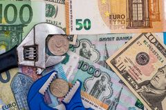 Euro and dollar ruble. Euro and dollar vs ruble stock images