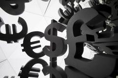 Euro, Dollar-Währungszeichen mit vielen Spiegelungs-Bildern von sich stockbild