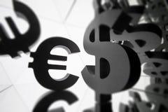 Euro, Dollar-Währungszeichen mit vielen Spiegelungs-Bildern von sich stockfoto