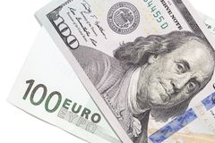 Euro and dollar on a white background.  Royalty Free Stock Photo