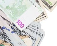 Euro and dollar on a white background.  royalty free stock images