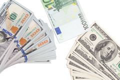 Euro and dollar on a white background.  Royalty Free Stock Image