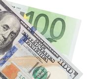 Euro and dollar on a white background.  stock image
