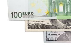 Euro and dollar on a white background.  Stock Photos
