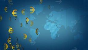 Euro Dollar On World Map stock video footage