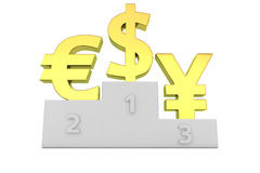 Forex leaders. Euro, dollar and yen signs on the winners podium Stock Photos