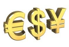 Euro, dollar, yen symbol Stock Image
