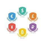 Euro Dollar Yen Yuan Bitcoin Ruble Pound Mainstream currencies symbols on shield sign. Stock Photography