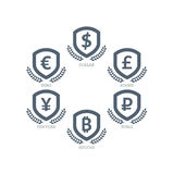 Euro Dollar Yen Yuan Bitcoin Ruble Pound Mainstream currencies symbols on shield sign. Vector illustration graphic template isolat Royalty Free Stock Photography