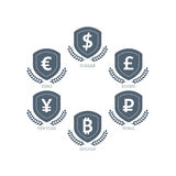 Euro Dollar Yen Yuan Bitcoin Ruble Pound Mainstream currencies symbols on shield sign. Vector illustration graphic template isolat Stock Images