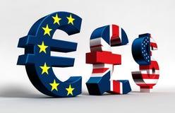 Euro dollaro della libbra Fotografia Stock Libera da Diritti