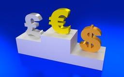 Euro, dollaro e libbra Fotografia Stock Libera da Diritti