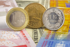 Euro, dollaro, moneta del franco immagini stock