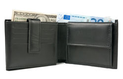 Euro and dollars. Wallet with euro and dollars over white Stock Photo