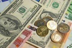 Euro dollars. Us dollar and euro bills and coins Royalty Free Stock Image